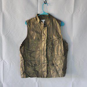 Chico's Linen Blend Vest Bronze Gold Size Large